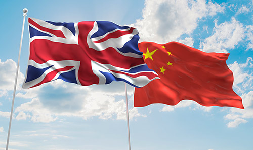 UK and China flags blowing in the wind