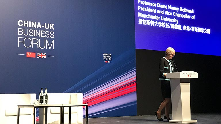 President and Vice-Chancellor, Professor Dame Nancy Rothwell speaking at UK China Business Forum in Shanghai in January 2018.
