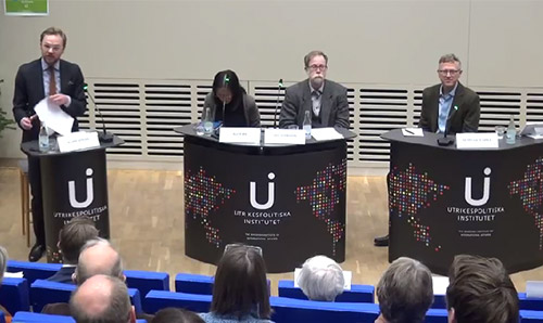 Prof Peter Gries (right) participating in a panel discussion in Stockholm.