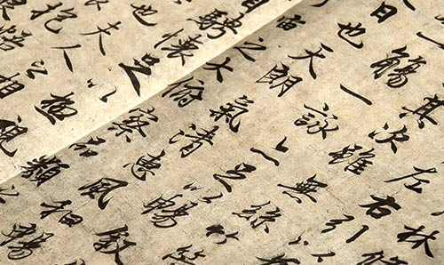 Chinese hieroglyphics on old paper